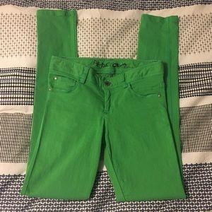 Alice + Olivia Green 5 Pocket Skinny Jeans
